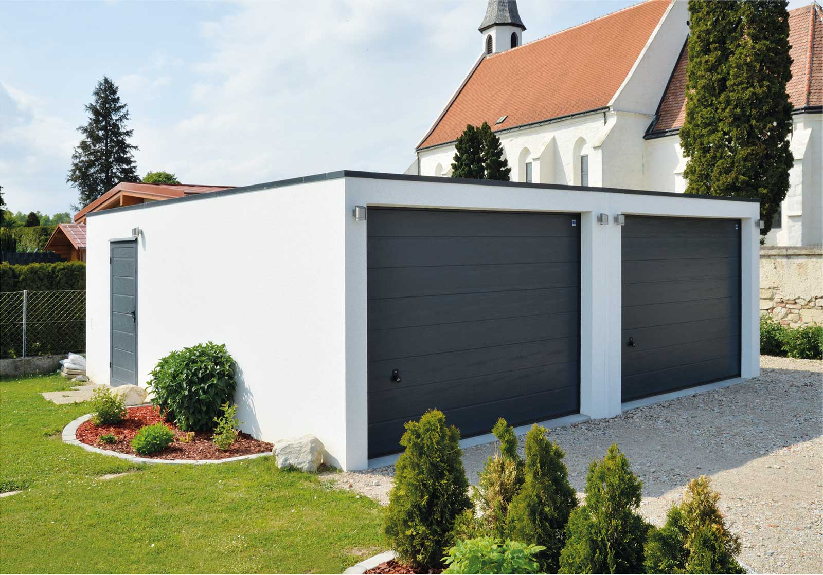 Double garage prefabricated from Bangerl