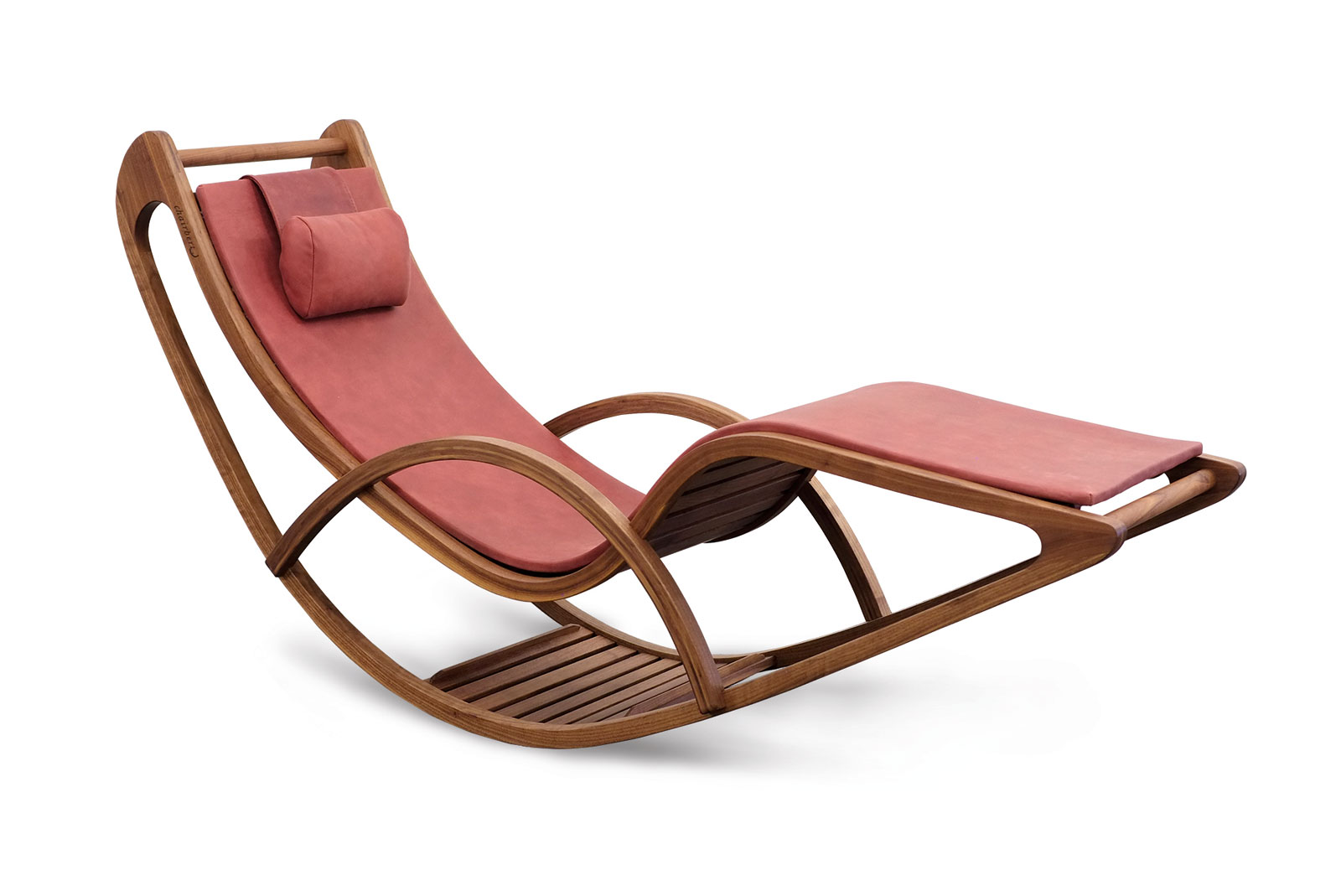 Wooden lounge chair, Swiss product with leather upholstery