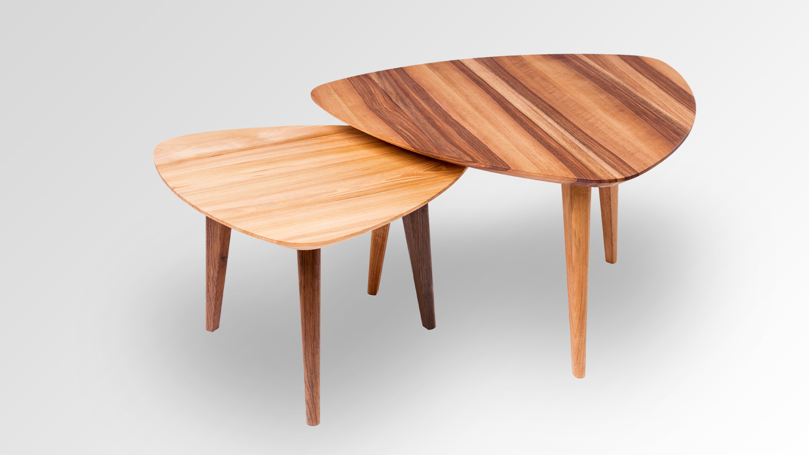 Swiss wood side tables by Fanger Design