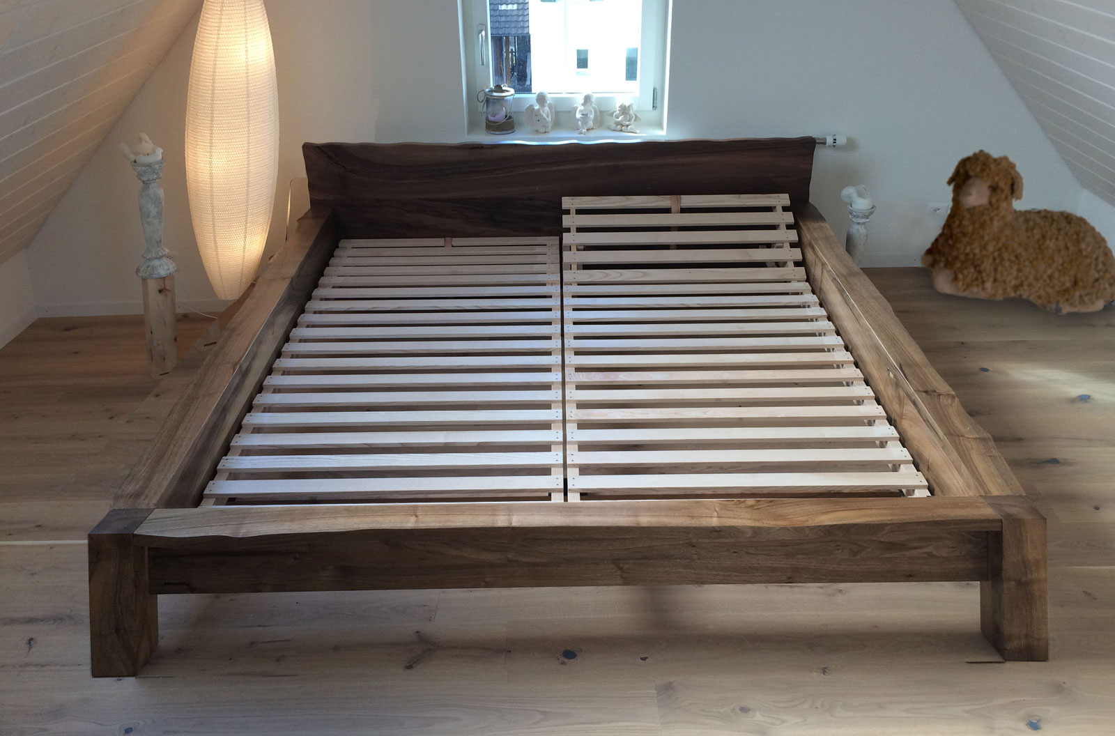 Bed of solidwood, made in Switzerland by Fischer