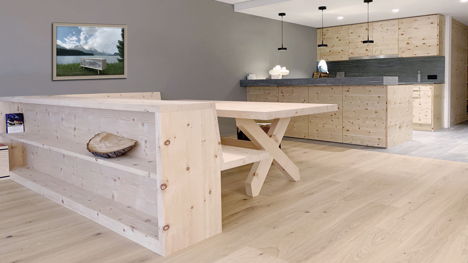 Kitchen made of Swiss stone pine by Holzer & Bott, Zuoz, Switzerland