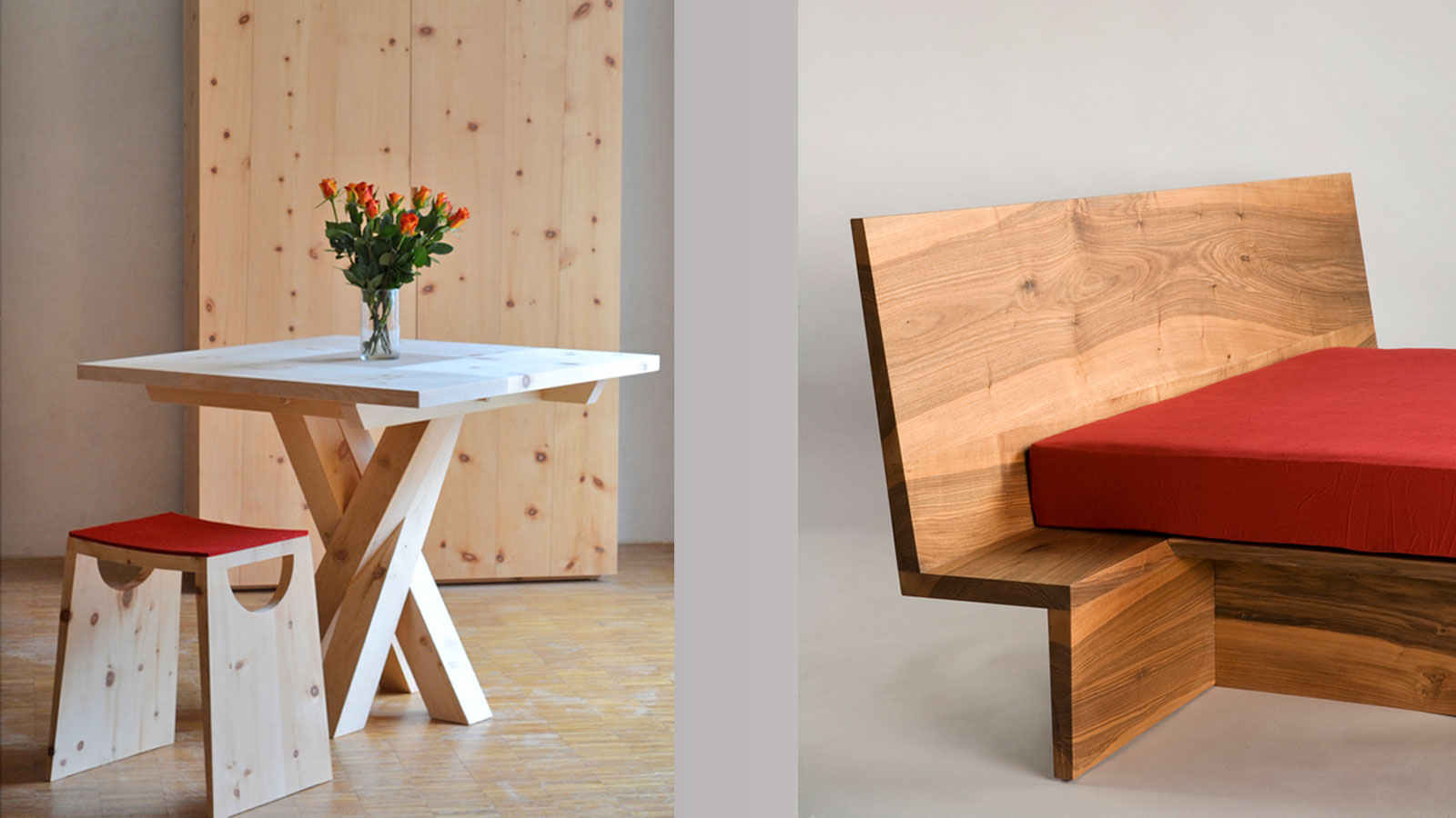 Table, stool and bed in Engadine pine wood by David Rohrbach, Zernez Switzerland
